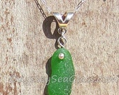 1-5/8 inch Sea Green ~ Sea Glass Necklace Pendant - Odyssey Sea Glass Jewelry - Sterling Silver Findings - LJ0009