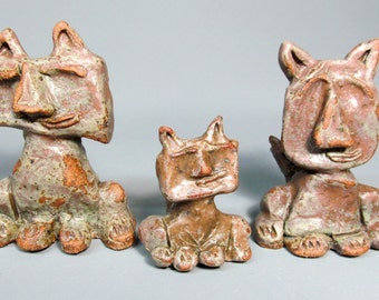 3 Quirky, Whimsical, Cats, Family of Funny Cats,
