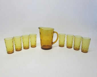 Hazel Atlas Eldorado Amber Pitcher & 8 Drinking Glasses