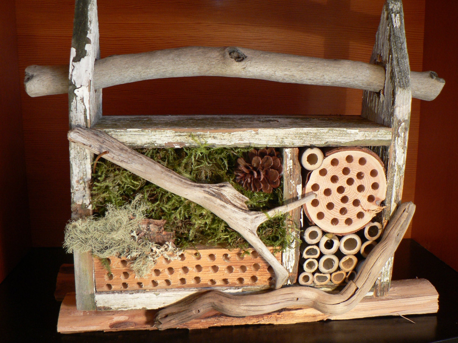 Bee house rustic mason bee house bug house garden art gift for Bee decorations for the home