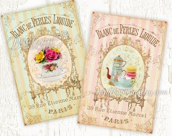 Vintage Petit Dejeuner Cards. Set of 2. Digital download for scrapbooking and packaging.