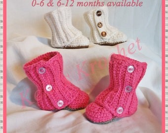 Baby Wrap Boots, Crocheted baby wrap boots, Baby Booties, Crochet shoes, Baby gift, Baby girl boots, Baby boots, Baby Accessories