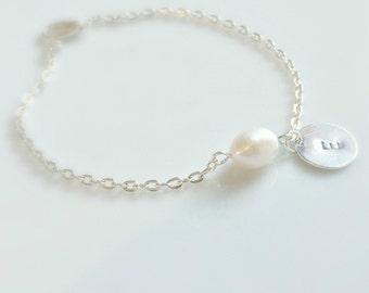 Freshwater Pearl Bracelet, Initial Pearl Bracelet, Pearl Bracelet,Initial Bracelet,Silver Jewelry, Bridesmaid Gifts,UK Shop, Christmas Gifts