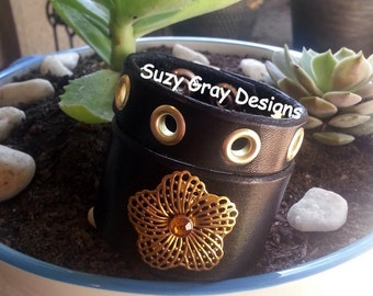 Black Leather Cuff And Bracelet Set - Genuine Leather Bracelet - Flower Leather Bracelet - Leather Studded Bracelet