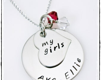 Mothers Stamped Necklace with Stamped Heart, Stainless Steel