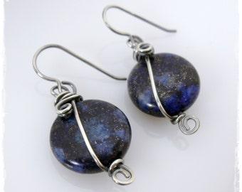Antiqued Sterling Silver Blue Moon Earrings