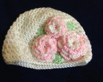 Crochet Baby Hat with Three Flowers