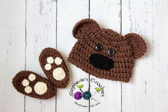 Crochet Baby Bear Booties Pattern : Crochet Newborn baby bear hat booties set crochet Newborn