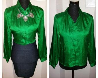 Vintage emerald green voice sz small