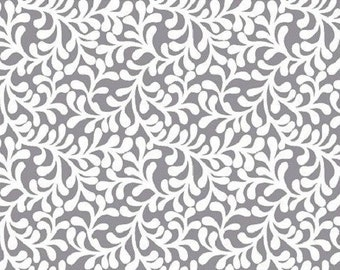 Gray Curly Branches ---- Fabric By The Yard --- Plume Bloom