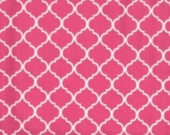 Mini Quatrefoil Fabric ~ Shocking Pink Quatrefoil ~ Hot Pink Quatrefoil ~ Fabric By The Yard ~ Moroccan or Geometric Style Fabric
