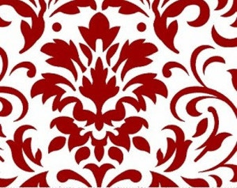 Red and White Damask Fabric --- Damask Fabric --- Fabric By The Yard