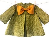 Girls Green Dress-Gold Bow, Little Girls Dress, Girls Holiday Dresses, Cottage Chic, Vintage Inspired dress, Fall & Winter/MYSWEETCHICKAPEA