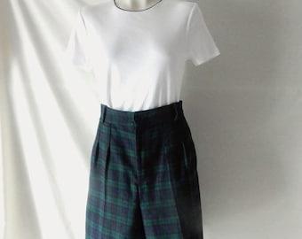 Free Ship Sz 8 10 Plaid Fall Shorts - High Waisted - Blue Walking Shorts - 80s - Tartan  - Made in USA