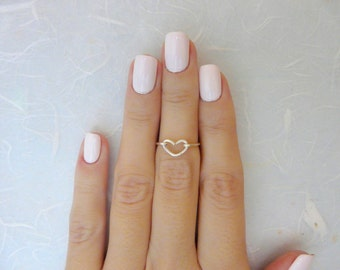 Heart knuckle ring, Gold knuckle ring, Above the knuckle ring, Wire ring, Love ring, ANY SIZE
