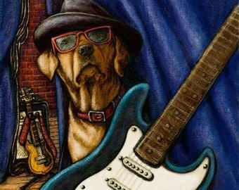 """Yellow Labrador Retriever Art - Guitar Dog - 16""""x16"""" Framed Print"""