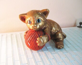 Gold Kitten Yarn Chalkware Progressive Art