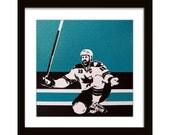 12 x 12 Joe Thornton San Jose Sharks - Screenprint on Canvas