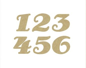 Unfinished Wooden Numbers in the Antsy Pants Font Style