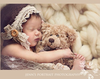Brown Lace Newborn Bonnet, Vintage Inspired Photo Prop