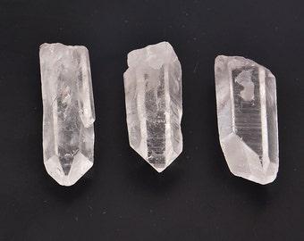3PC  Raw Rock Quartz Crystals , Stringing  Crystals , Quartz Crystal Pendants