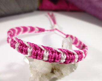 Pink Fuchsia & White Friendship Surf Bracelet Macrame Handmade