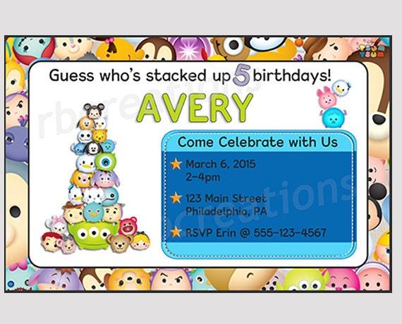 il_570xN.734303069_kxu7 tsum tsum birthday invitation tsum tsum party tsum tsum,Tsum Tsum Invitation