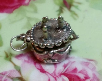 WHIMSY Vintage Miniature Sterling Silver Articulated Moving Part Birthday Wedding Cake Locket Charm with Present Inside - Bracelet Necklace