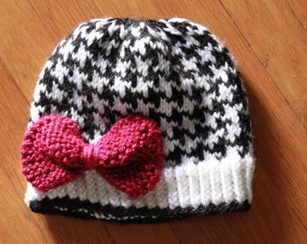 Houndstooth Hat with Pink Bow