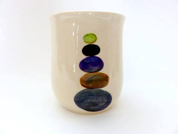 Ceramic handleless mug 16 oz with colored stacked - Handleless coffee mugs ...