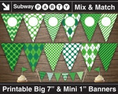 Golf Party Printable Banner and Mini Cake Bunting. Emerald Green Argyle, Chevron & Stripes. DIY Editable Banner Blank. INSTANT DOWNLOAD.