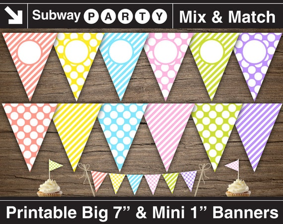 Printable Easter Party Banner and Mini Cake by subwayParty on Etsy