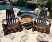 2  Wine Barrel Adirondack Chairs & Side Table Set