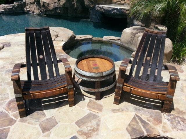 2 Wine Barrel Adirondack Chairs Amp Side Table Set