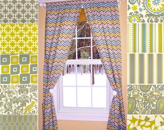 "Yellow Curtains,Citrus Curtains,Chevron Curtains, Zig Zag Curtains, Citrine,Pair Drapery Panels,Yellow Curtains,24"" Wide,52"" Wide"