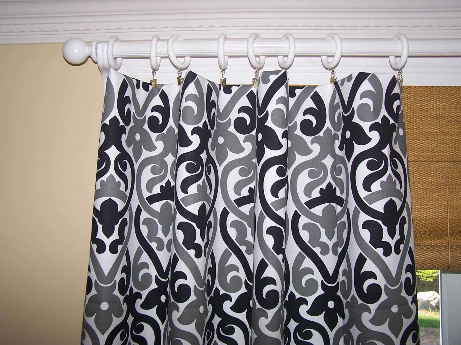 black grey and white curtain panels by cathyscustompillows