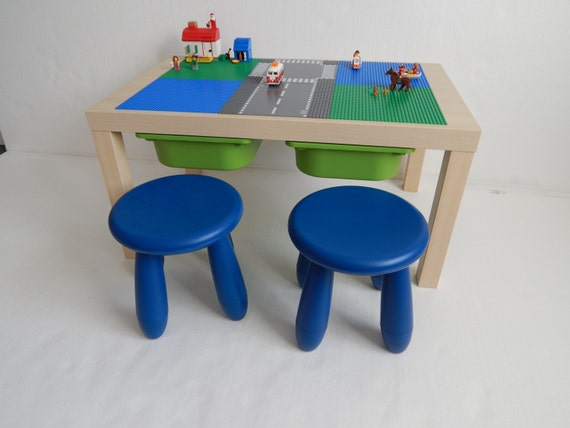 enfants grand lego storage table 30 x 20 vert et bleu. Black Bedroom Furniture Sets. Home Design Ideas
