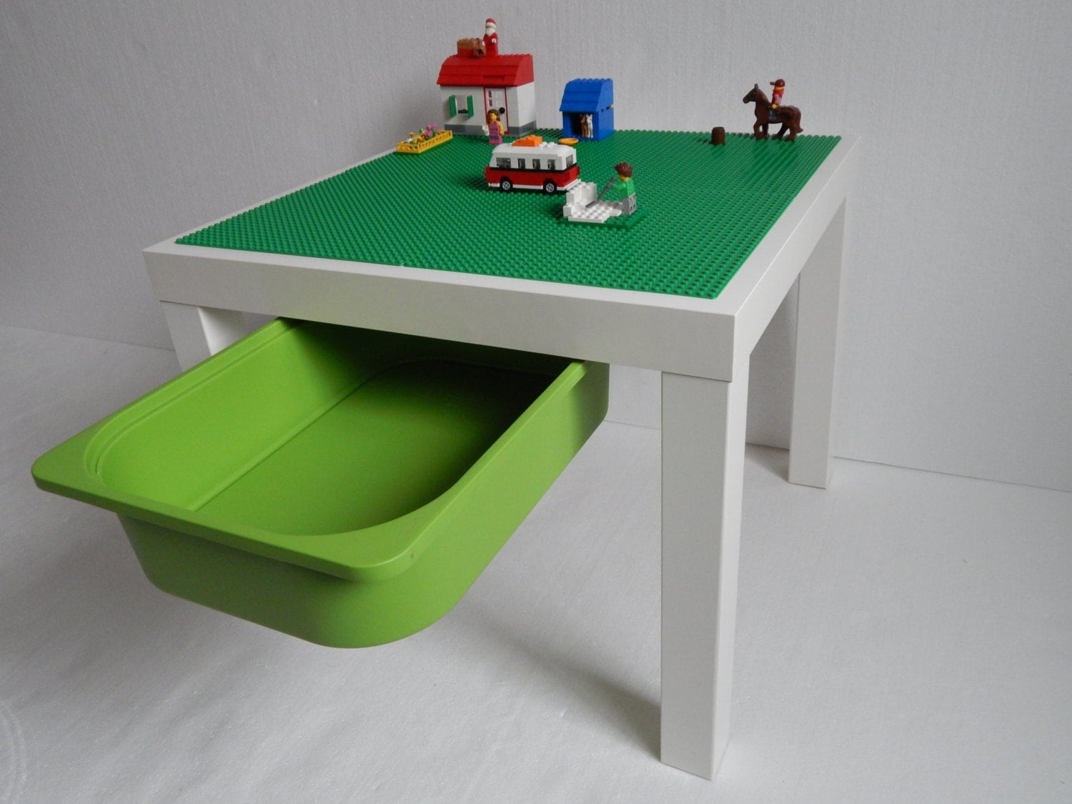 Kids LEGO® Table with Storage. Large 20x20 Green