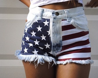 SALE Highwaisted acid wash American flag denim shorts waist sizes 22,23,24,25,26,27,28,29,30,31,32 available and young girls sizes too