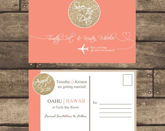 Printable Destination Save the Date w/ Gold Glitter