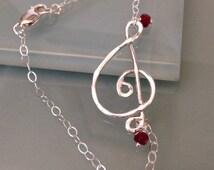 Sterling Silver Clef Bracelet, Treble clef bracelet