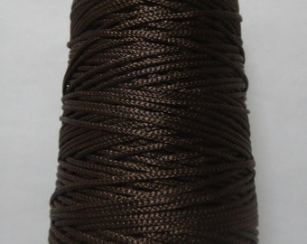 SEAL BROWN - Viscose Rayon Cord Dori Thread Yarn - Embroidery Crochet Knitting Lace Jewelry - 70 grams - 170+ Yards - 1.75 mm Thick