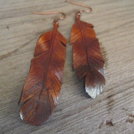 Leather Feather Earrings, Leather Feather Earrings,Free Shipping,  Leather Earrings, Gypsy Style Earrings, Boho Style, Coachella
