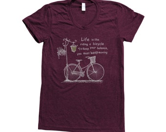 BICYCLE Shirt Women Custom Hand Screen Printed on American Apparel Tri-Blend Short Sleeve Tshirt Available: S, M, L, Xl