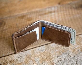 Ready to Ship - Hand-Stitched Horween Leather Bifold Wallet in Natural Chromexcel Steerhide