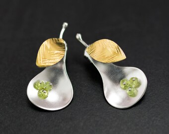 Pear earrings with peridot stones, hypoallergenic stud earrings,unusual earring studs,sterling siver stud earrings, statement fruit earrings