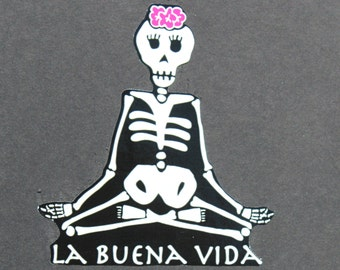 Day of the Dead La Buena Vida Lotus with Flowers car sticker. #93