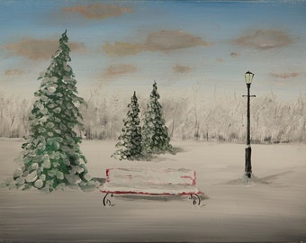 "Red Bench in Winter original acrylic painting 16"" x 12"" snow lamp post"