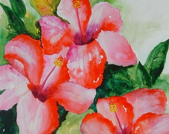 Red Hibiscus Original Watercolor Painting 16 x 20 ready to frame, colorful, handmade, Tropical, Flower