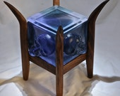 Cast Glass Purple Faces Box with Walnut Base